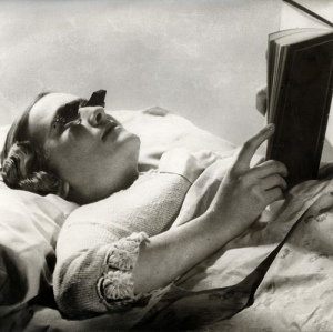 Glasses especially designed for reading in bed.